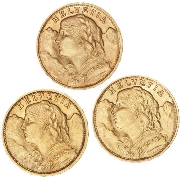 Switzerland, 20 Francs 1902, 1922 and 1947, F 499