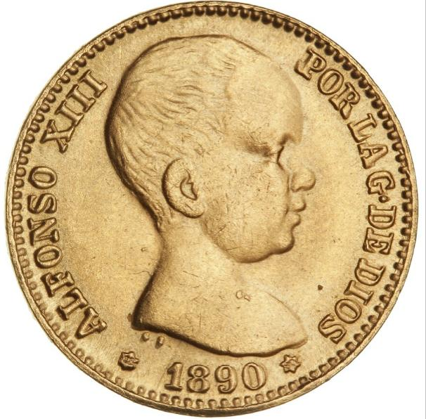 Spain, 20 Pesetas 1890, F 345 - COPY with a weight of 6.40 g, marked with COPY