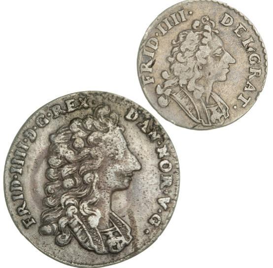 Norway, Frederik IV, 16 skilling 1715, NMD 11, H 14, 8 skilling 1705, NMD 28, H 6B, in total 2 pcs.