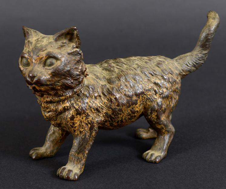 COLD PAINTED BRONZE CAT INKWELL - BERGMAN