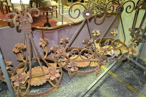 Pair Of Hanging Iron Candle Holders And Another