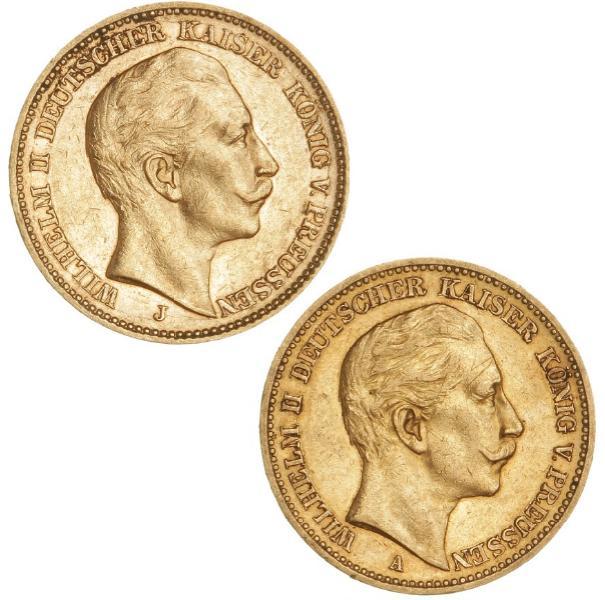 Germany, Prussia, Wilhelm II, 20 Mark 1889 A, 1905 J, KM 516, 521, F 3830, 3832. (2)