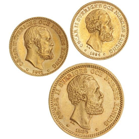 Sweden, Oscar II, 1872 - 1907, 20 kr 1889, F 93a; 10 kr 1894, F 94a; 10 kr 1901, F 94b (3)