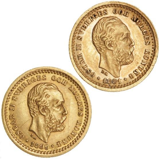 Sverige, Oscar II, 5 kr 1881, 1899, SM 34, 39, F 95, in total 2 pcs.
