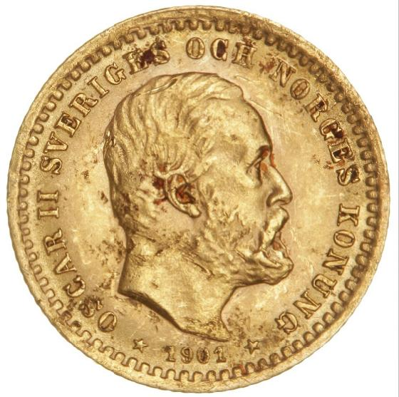 Sweden, Oscar II, 5 kr 1901, SM 40, F 95a, scratched and with spots
