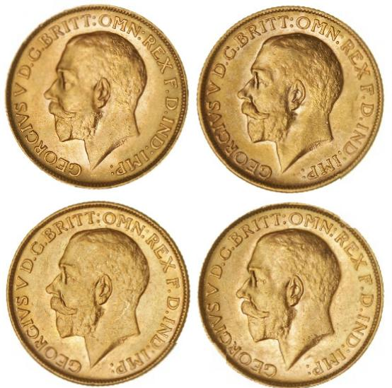 Australia, George V, Sovereign 1916 M, 1917 M, F 39, 1918 P, 1920 P, F 40 (4)