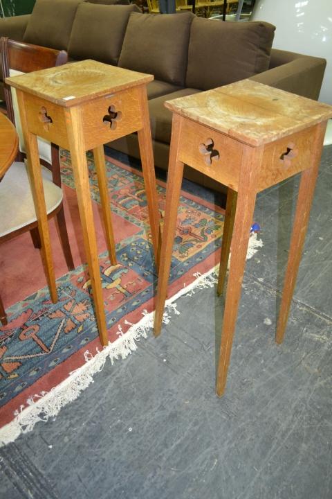 Pair of Ecclesiastical Oak Jardiniere Stands