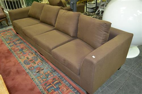 Large 2 Piece Brown Fabric Lounge with Matching Arm Chair And Ottoman