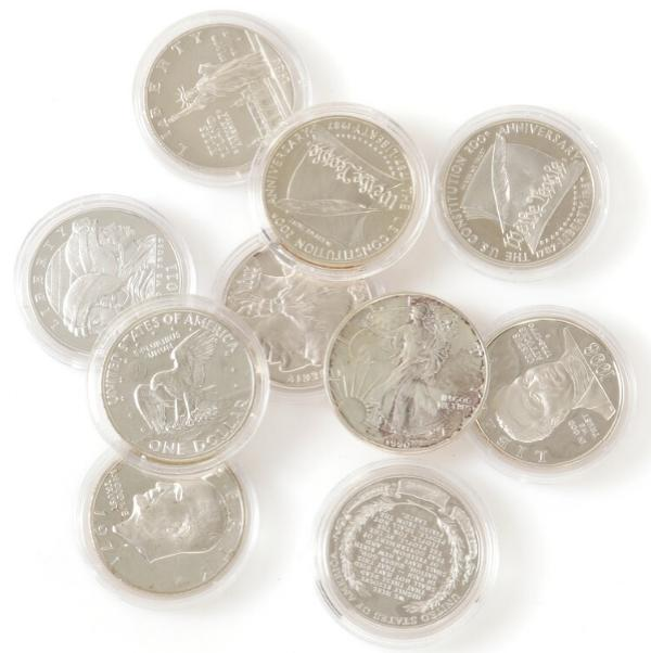 USA, proof silver Dollars 1971(2), 1986, 1987(2), 1990, 1998, 2001, 2009, 2011. (10)