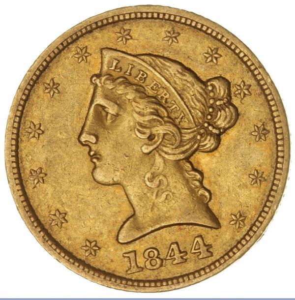 USA, 5 Dollars 1844, Liberty Head Type, Philadelphia Mint, F 138