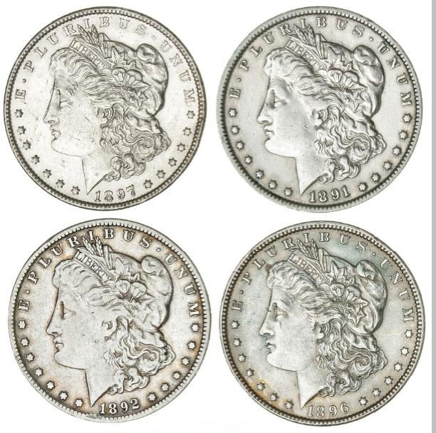 USA, Morgan Dollars 1891, 1892 O, 1896, 1897, KM 110. (4)