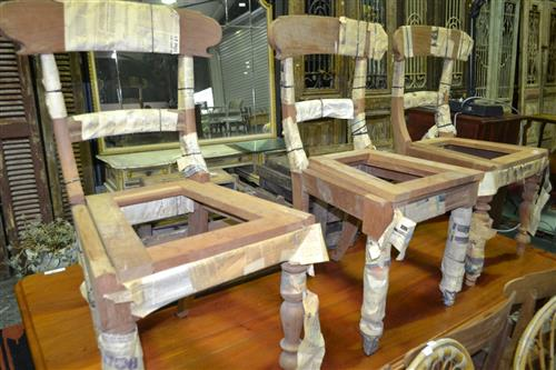 Set Of Six Cedar Dining Chairs - Assembly Required