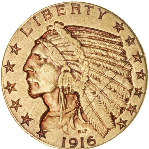 USA, 5 Dollars Indian Head 1916 S, San Fransisco, F 150, scratch on obverse