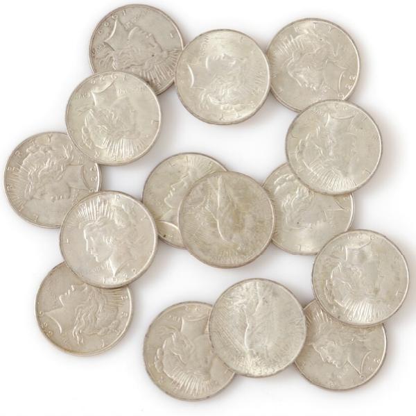 USA, Liberty Dollars 1922, KM 150, in total 15 pcs in varying condition