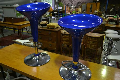 Pair of Electric Blue Gas Lift Barstools