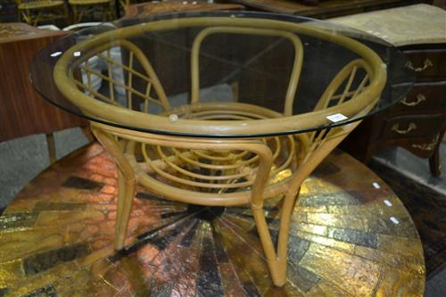 Circular Cane Occasional Table w Glass Top