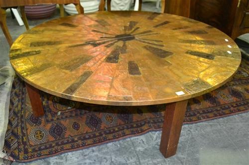 Pressed Copper Top Round Coffee Table