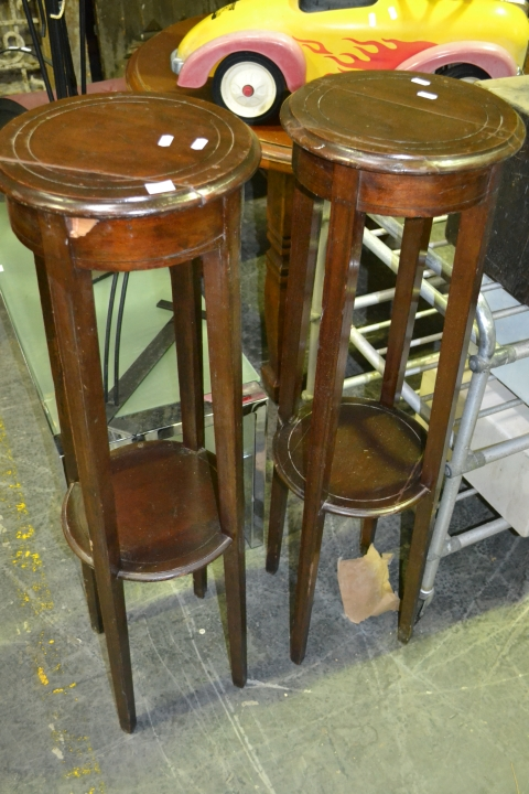 Pair of Timber Plant Stands (Heavily Repaired)