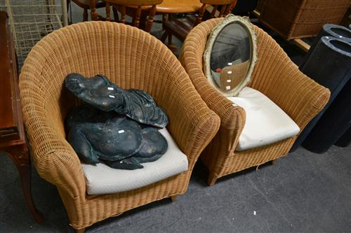 Pair of Cane Tub Chairs