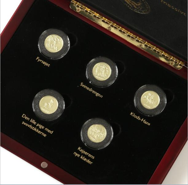 Hans Christian Andersen,18 carat gold medals, 5 pcs., each 4.8 g, proof in capsules and wooden case