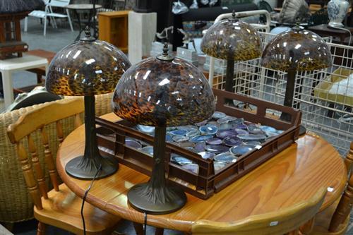 Set of 4 Amber Mushroom Shade Table Lamps
