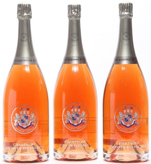 3 bts. Mg. Champagne Rosé Brut, Barons de Rothschild A (hf/in).