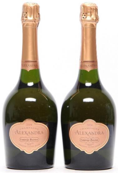 "2 bts. Champagne Grand Cuvée Rosé ""Alexandra"", Laurent Perrier 2004 A (hf/in)"