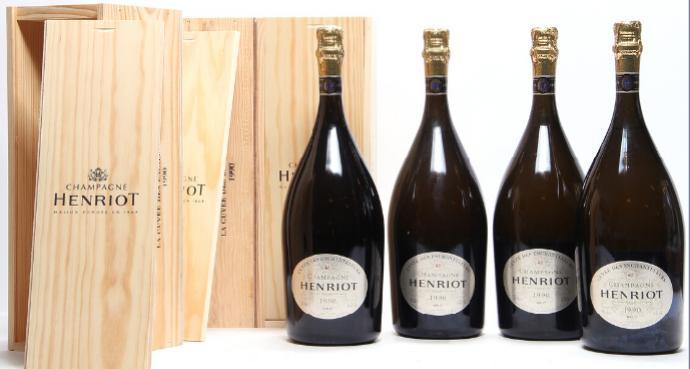 """6 bts. Mg. Champagne """"Cuvée des Enchanteleurs"""", Henriot 1990 A-A/B (bn). Oc"""