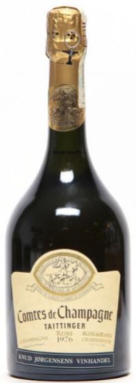 """1 bt. Champagne Blanc de Blancs """"Comtes de Champagne"""", Taittinger 1976 A/B (ts)."""