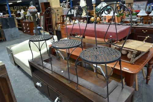 3 Metal Garden Chairs