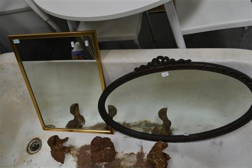 Oval Timber Framed Mirror w Carved Ribbon Top & Another