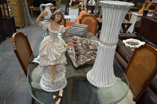 Plaster Lady Figure on Plinth - Broken Arm