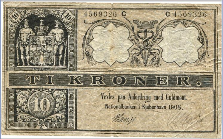 10 kr 1908, Nr. 4569326 C, Sieg 95, Pick 7, some minor perf
