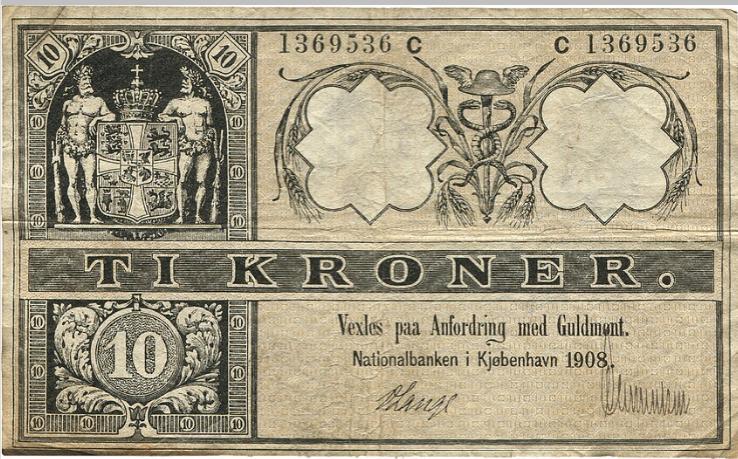 10 kr 1908 C, No. 1369536, V. Lange / ?, Sieg 95, Pick 7 discoloration