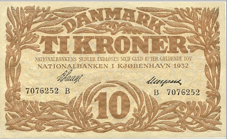 10 kr 1932 B, No. 70762252, V. Lange / Neergaard, Sieg 104, Pick 26