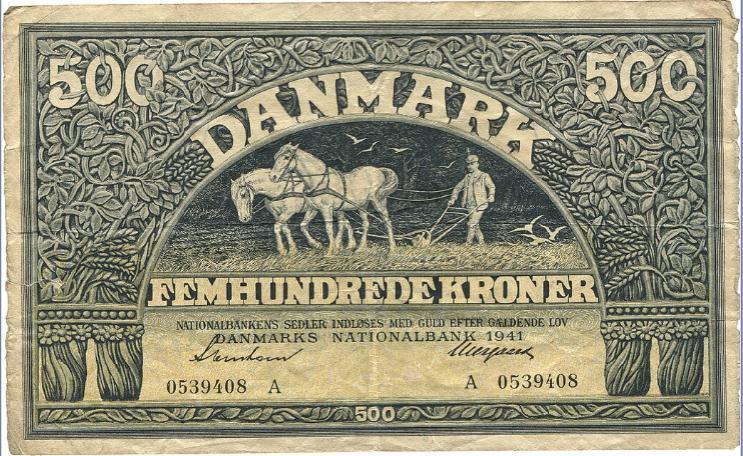 500 kr 1941, No. 0539408 A, Svendsen / Neergaard, Sieg 114, Pick 34