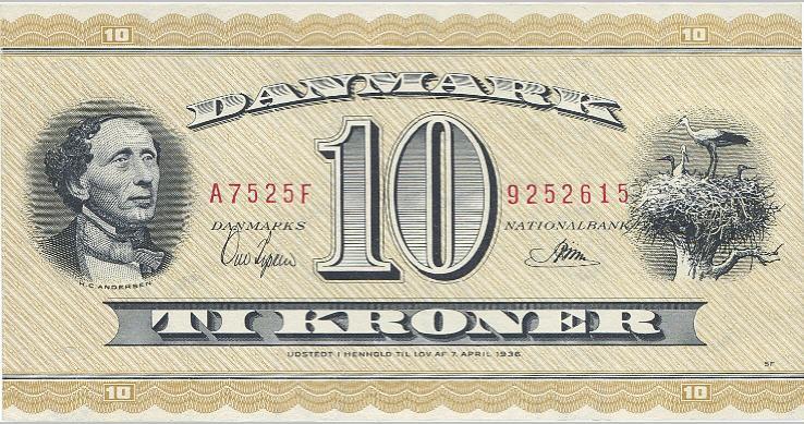 10 kr 1952 A7, nr. 9252615, Ove Ipsen / Riim, Sieg 130, Pick 43