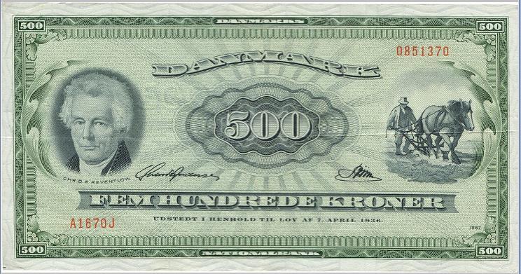 500 kr 1967 OJ A1, Nr. 0851370, Svend Andersen / Riim, Sieg 138, Pick 47