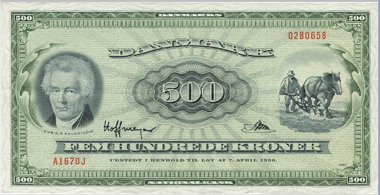 500 kr 1967 A1, 0J-replacement note, No. 0280658, Hoffmeyer/ Riim, Sieg 138, Pick 47