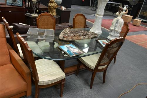 Dining Setting incl. Glass Top Timber Base Table & Six Rattan Back Chairs
