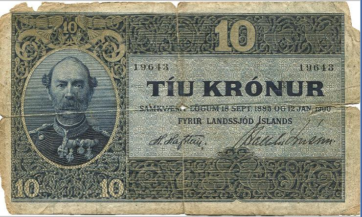 Iceland, 10 kr (1907), No 19643, Sieg 10, Pick 5, some perf. etc., rather bad cond.