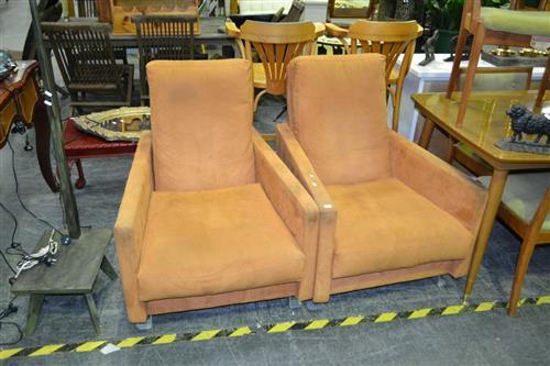 Pair of Orange Fabric Armchairs