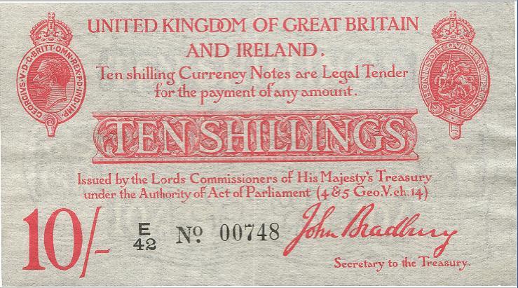 England, 10 Shillings ND (1915), Pick 348a