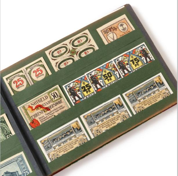 Germany, coll. emergency notes in old album, in total a. 500 pcs.