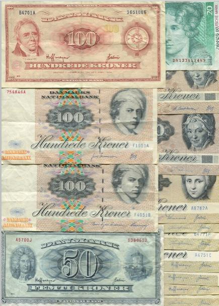 Coll. notes incl. 100 kr 1970, 1995 (2)