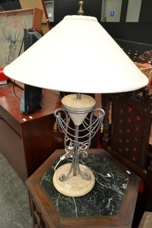 Metal and Stone Table Lamp