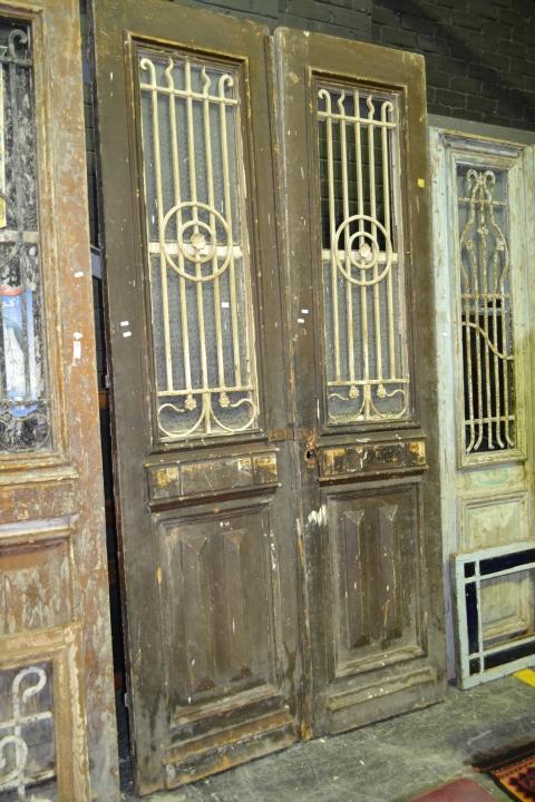 Tall Timber 2 Piece Door in Brown w Iron Panel Windows