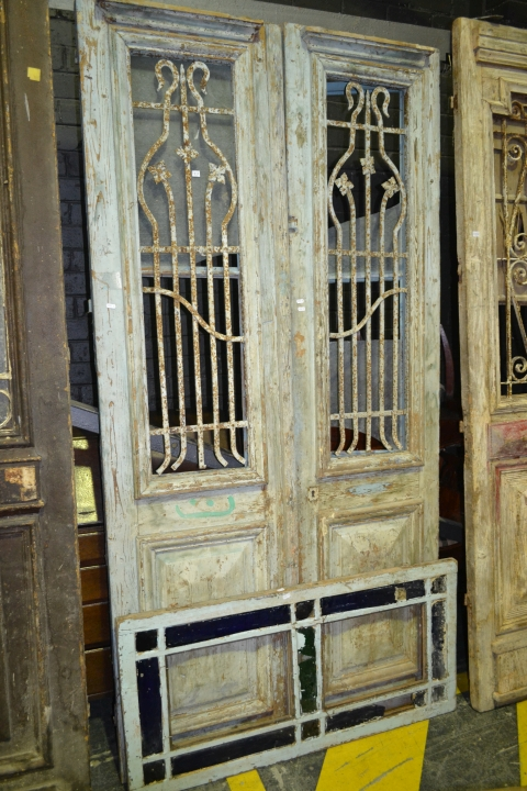 Tall Timber 2 Piece Door in Light Blue w Iron Panel Windows & Coloured Glass Panel Transom Window