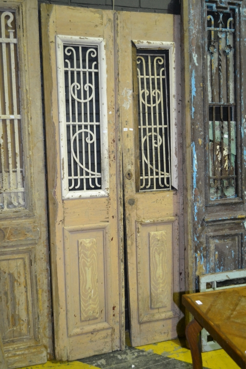 Tall Timber 2 Piece Tanned Door w Iron Panel Windows