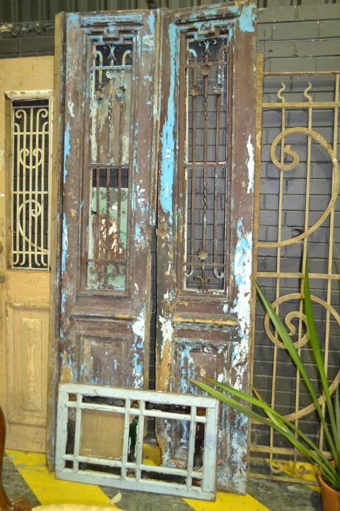 Tall Timber 2 Piece Door w Iron Panel Windows